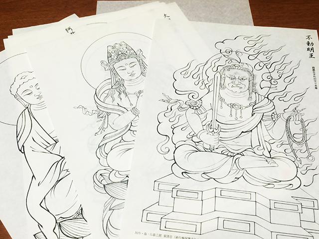 勝林寺 写仏体験-下絵
